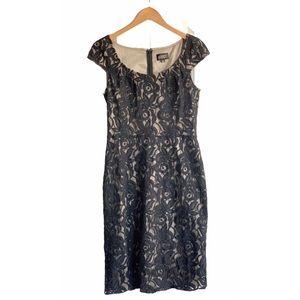 Adrianna Papell Black Lace Cap Sleeve Dress